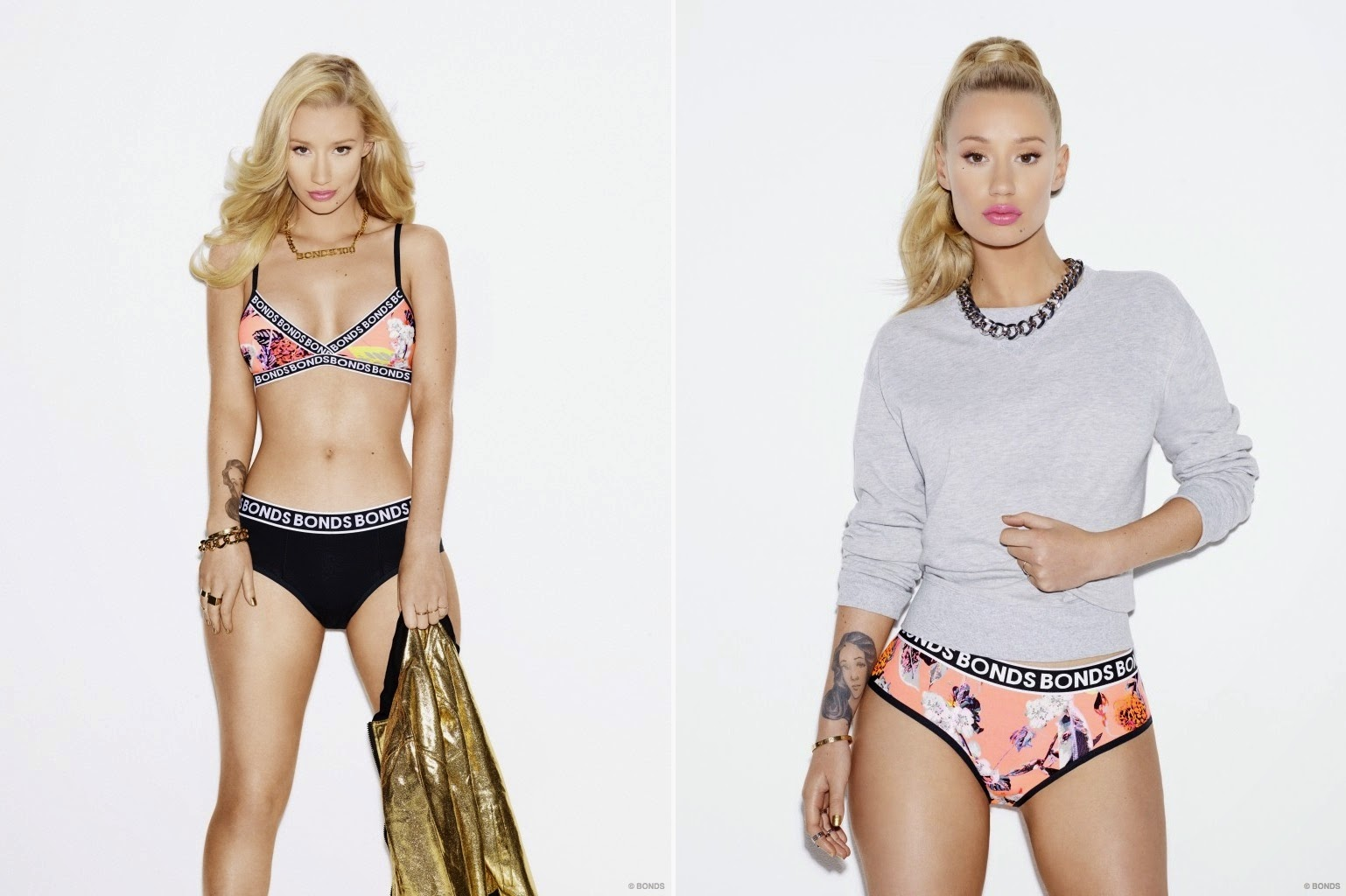 Iggy Azalea strips to underwear for the Latest Bonds Campaign
