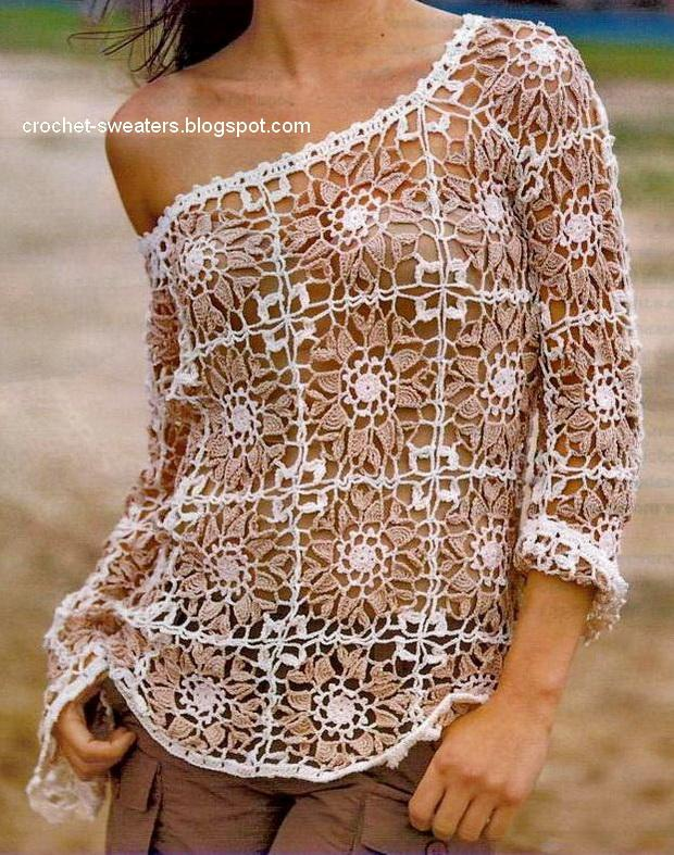 Free Crochet Sweater Patterns : Crochet Sweaters: Womens Sweater - Crochet Sweater Free Pattern ...