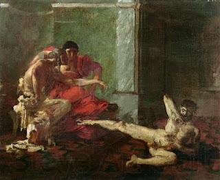Laocusta ensaya en un esclavo el veneno destinado a Britanico