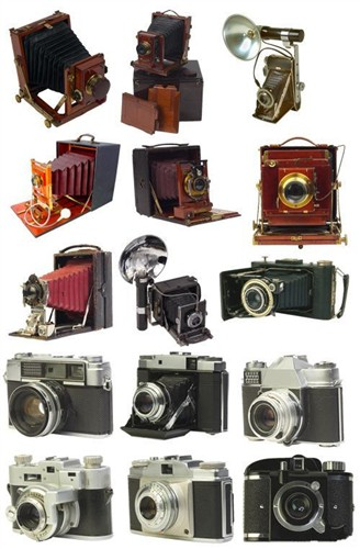 Eski tahihi Fotoğraf makinaları (PSD)