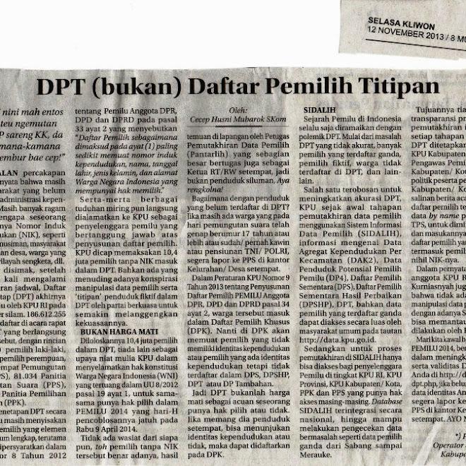 DPT (bukan) Daftar Pemilih Titipan