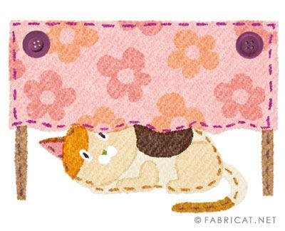 可愛いテーブルの下に隠れる三毛 猫のイラスト