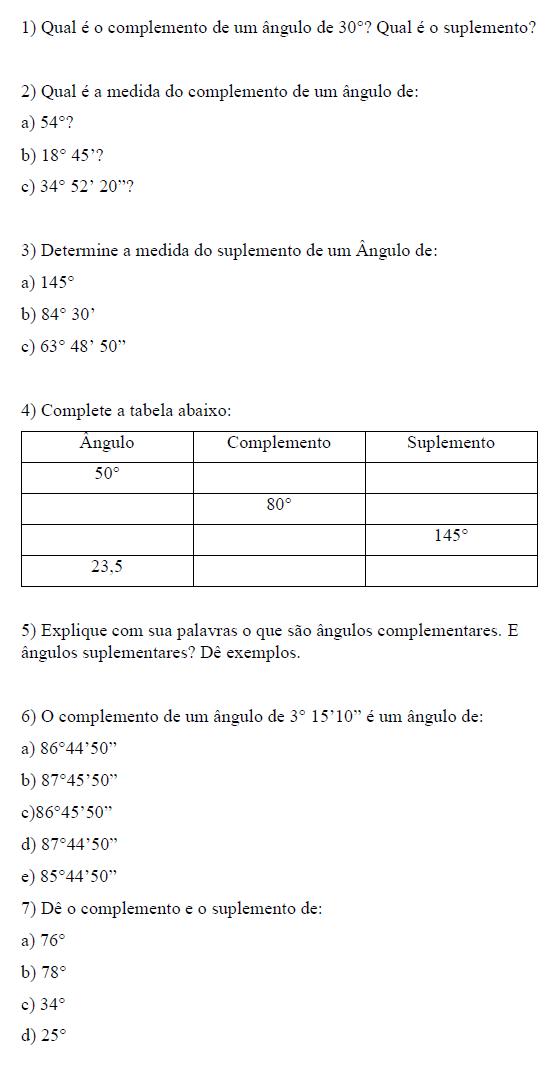 MANIA DE CALCULAR: Exercícios sobre ângulos complementares