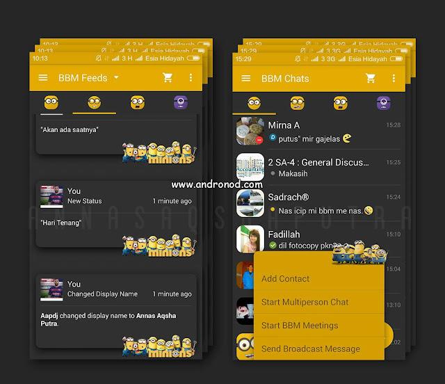 BBM Mod Tema Minions Dark v2.9.0.45 Apk
