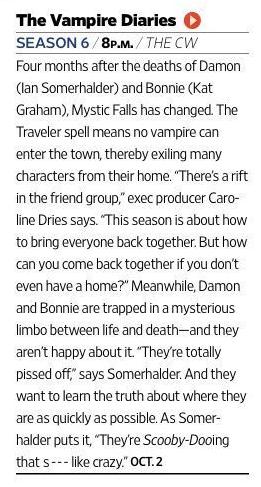 The Vampire Diaries - Season 6 - EW Magazine Preview Scan