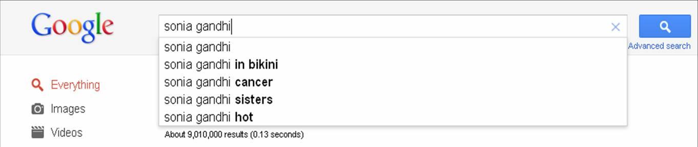 Sonia Gandhi in Google search