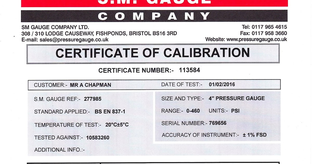 Sentinel steam loco 7109 certified gauges for Pressure gauge calibration certificate template