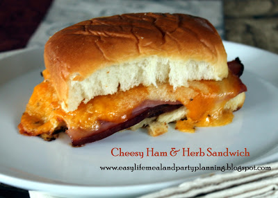 Hot Cheesy Ham & Herb Sandwich by Easy Life Meal & Party Planning