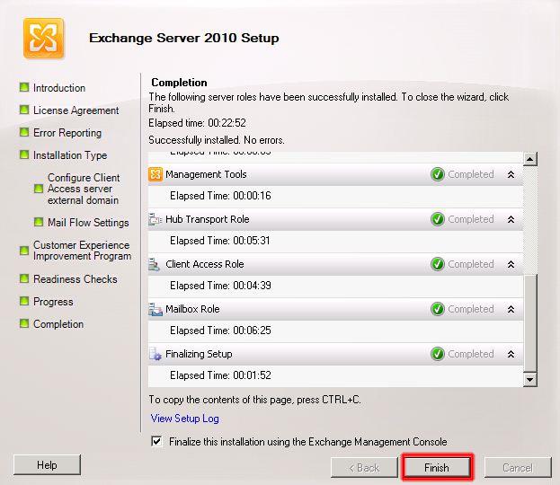 Finalización de la instalación de Microsoft Exchange 2010.
