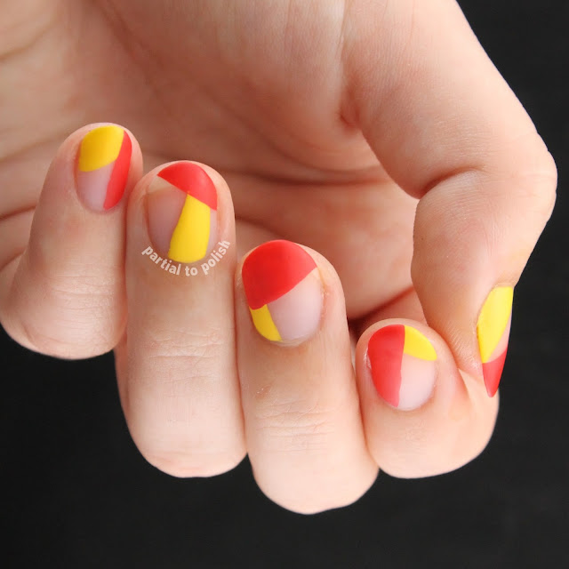 OPI Red and Yellow Negative Space Colour Blocks