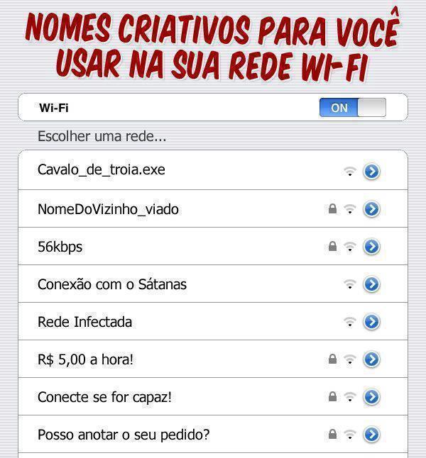 Nomes criativos para você usar na sua rede wifi