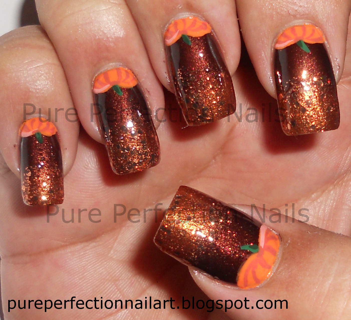 Pure Perfection Nails Pumpkin Hunt Halloween Fall Thanksgiving