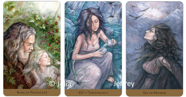 Tarot of the Hidden Realm, King of Pentacles, Temperance, Six of Swords, Julia Jeffrey