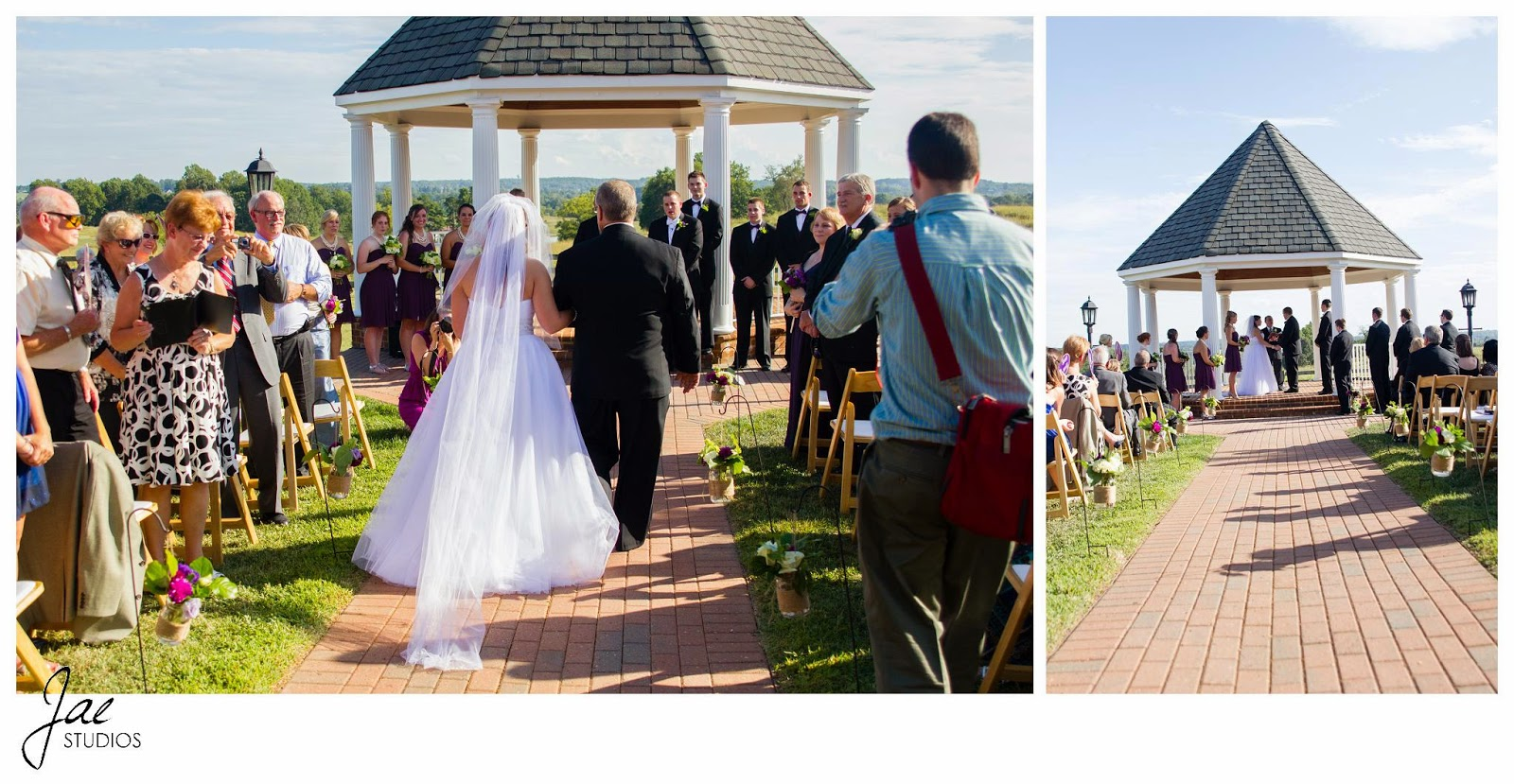 Jonathan and Julie, Bird cage, West Manor Estate, Wedding, Lynchburg, Virginia, Jae Studios, bride, walking down the aisle, father of the bride, guests, outdoors, ceremony