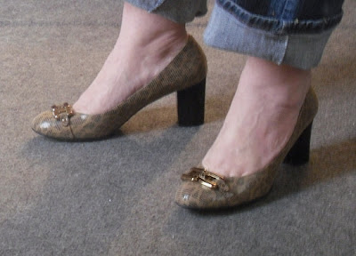 """Mustard with a croc texture, 1/2"""" platforms, pointy toes."""