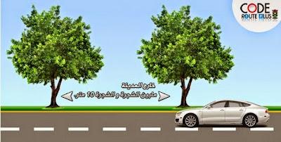 2- خارج المدينة مابين الشجرة و الشجرة 10 متر.