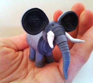 3d paper quilling elephbant figures