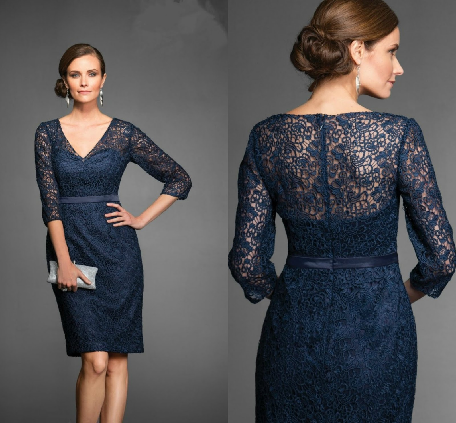 Knee Length Blue Lace Mother Of The Bride Dress