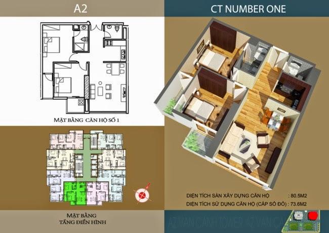 thiết kế chi tiết căn hộ số 1 - 73,6 m2 dự án ct number one