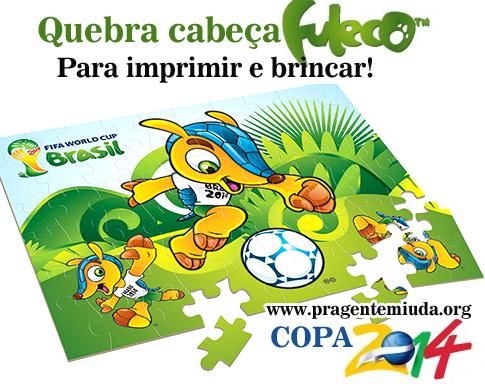 Quebra cabeça do fuleco para imprimir copa do mundo 2014