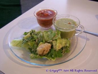 Caesar Salad w/ Cold Tomato & Cold Avocado Soups:
