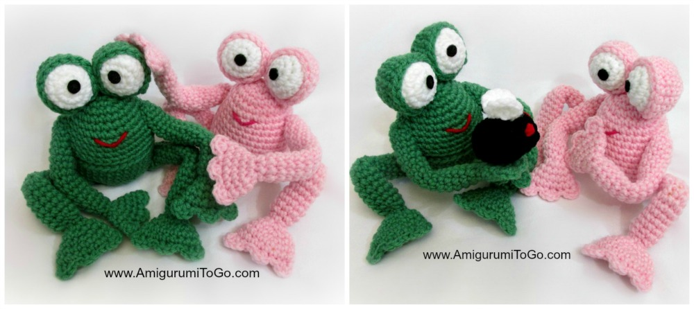 Green and Pink Crochet Frog