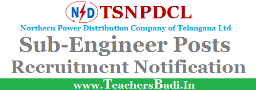 TSNPDCL,Sub-Engineer Posts,Notification
