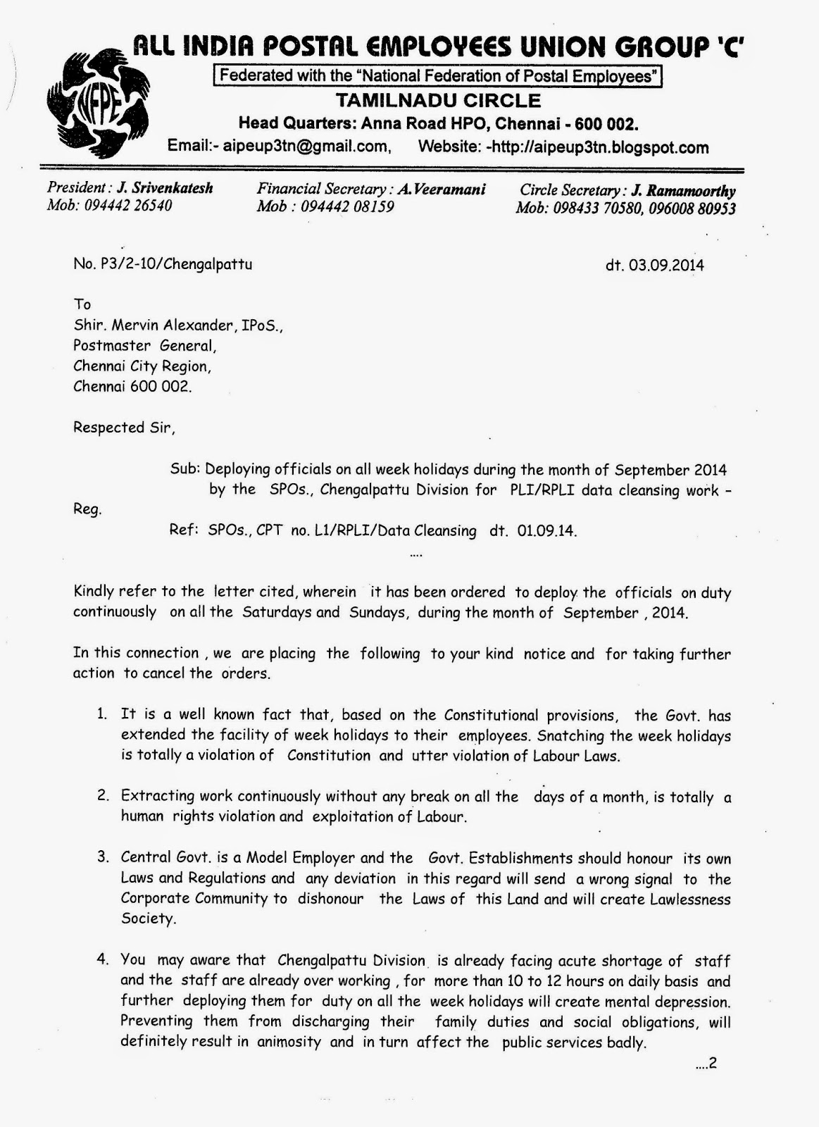 Aipeup3tn circle union letter to pmg ccr on deploying employees spiritdancerdesigns Image collections