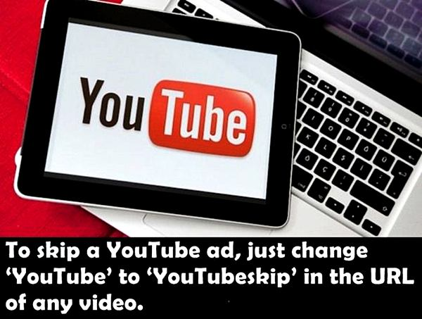To skip a YouTube ad, just change 'YouTube' to 'Youtubeskip' in the URL of any video.