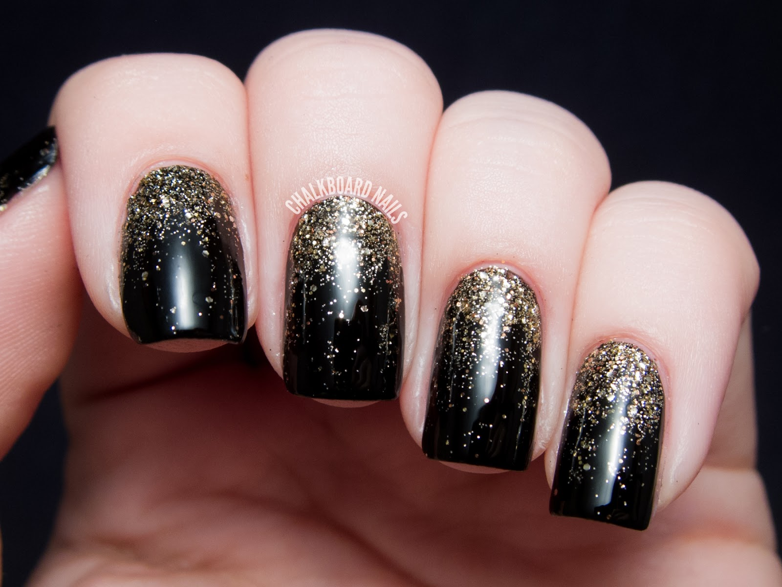 Party Perfect Black And Gold Nail Art Ideas Chalkboard Nails Blog