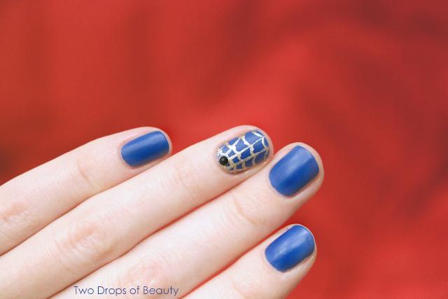 Helloween, nail art, маникюр, идея, синий, золотая паутина