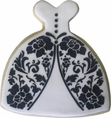 white and black damask wedding dress cookie