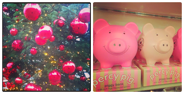 Christmas tree baubles and Percy Pig money boxes