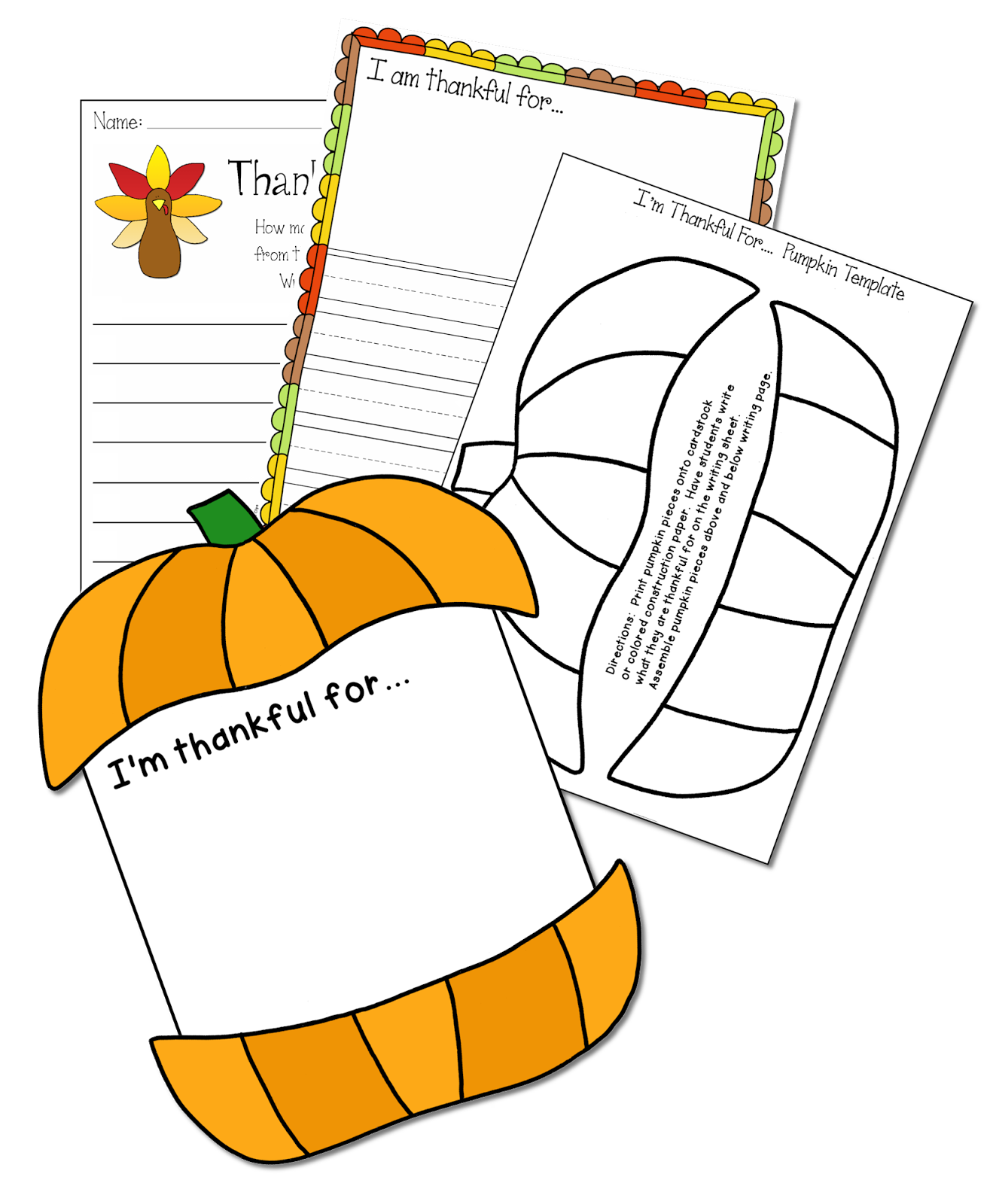 This Thanksgiving Freebie Includes A Pumpkin Template Designed To Be Topper And Footer For Writing Page Students Will Write What They Are Thankful