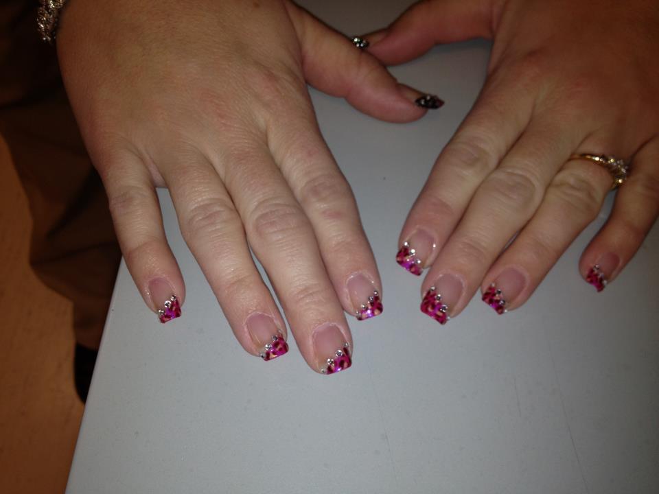Trishas Nail Designs Hot Pink Leopard Print Diagonal French