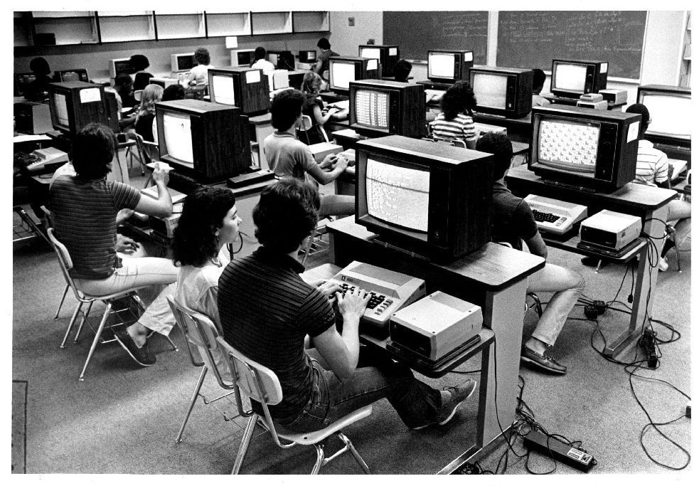 Retro school computer labs from the 1980s