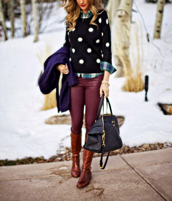Polka dots and oxblood combo fall fashion