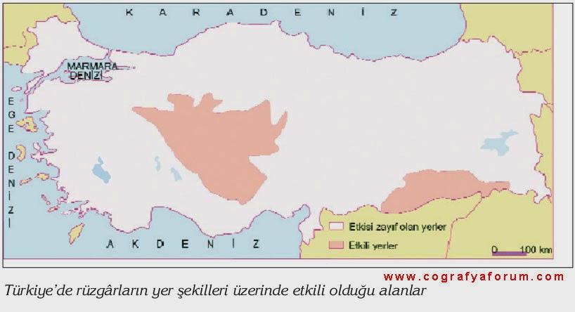 T�rkiye'de R�zgarlar�n Etkili Oldu�u Alanlar Haritas�