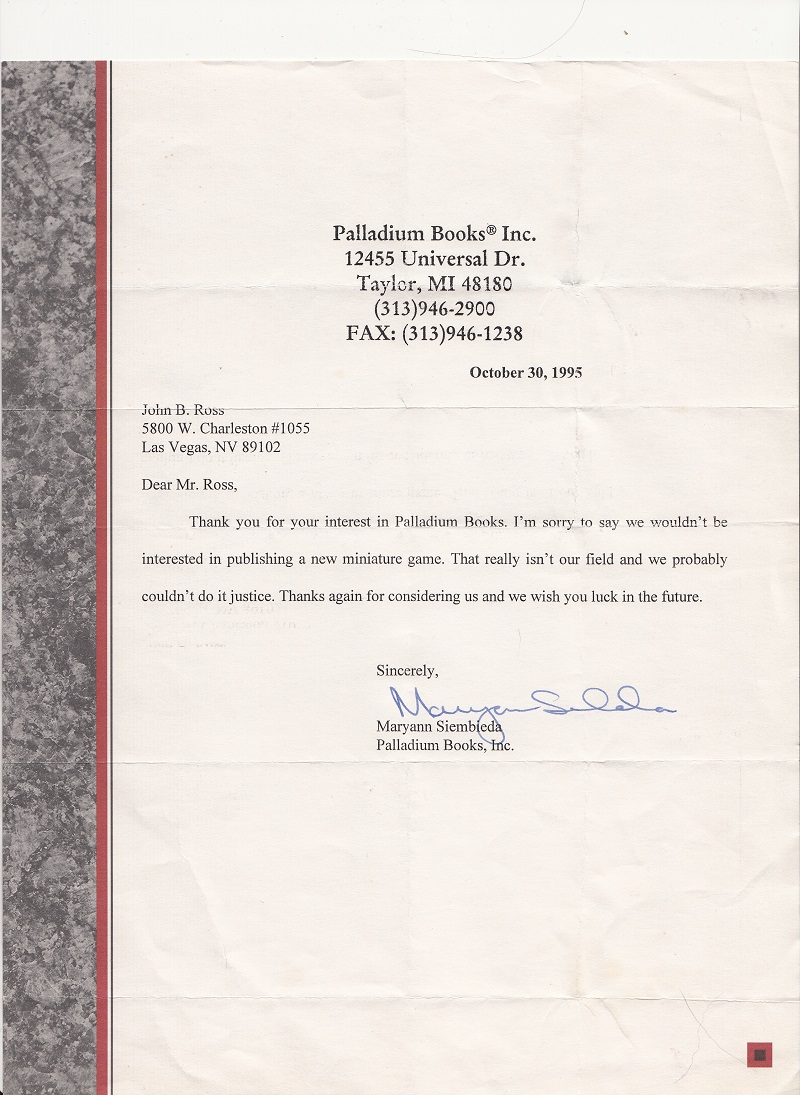 John Bear Ross 1995 Rejection Letter From Palladium Books