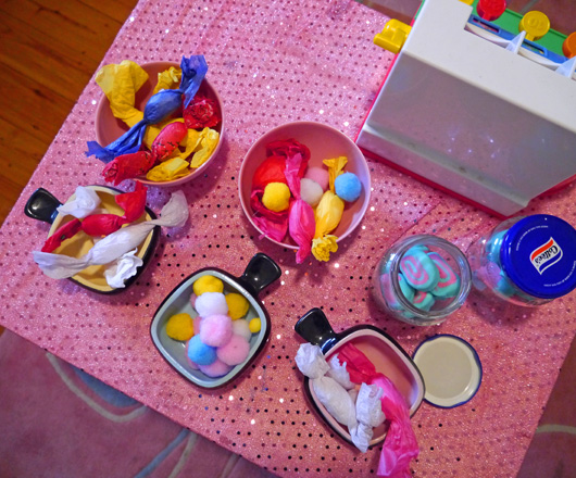 Make tissue paper sweets and pretend play candy shop | At home with Ali