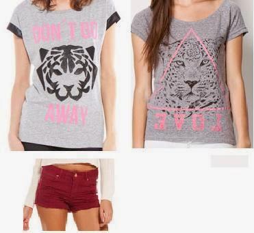 bershka, soldes hiver 2014, short jean, short destroy, short rouge, t-shirt tigre, t-shirt léopar, t-shirt manche courte, t-shirt fluide, t-shirt simili cuir