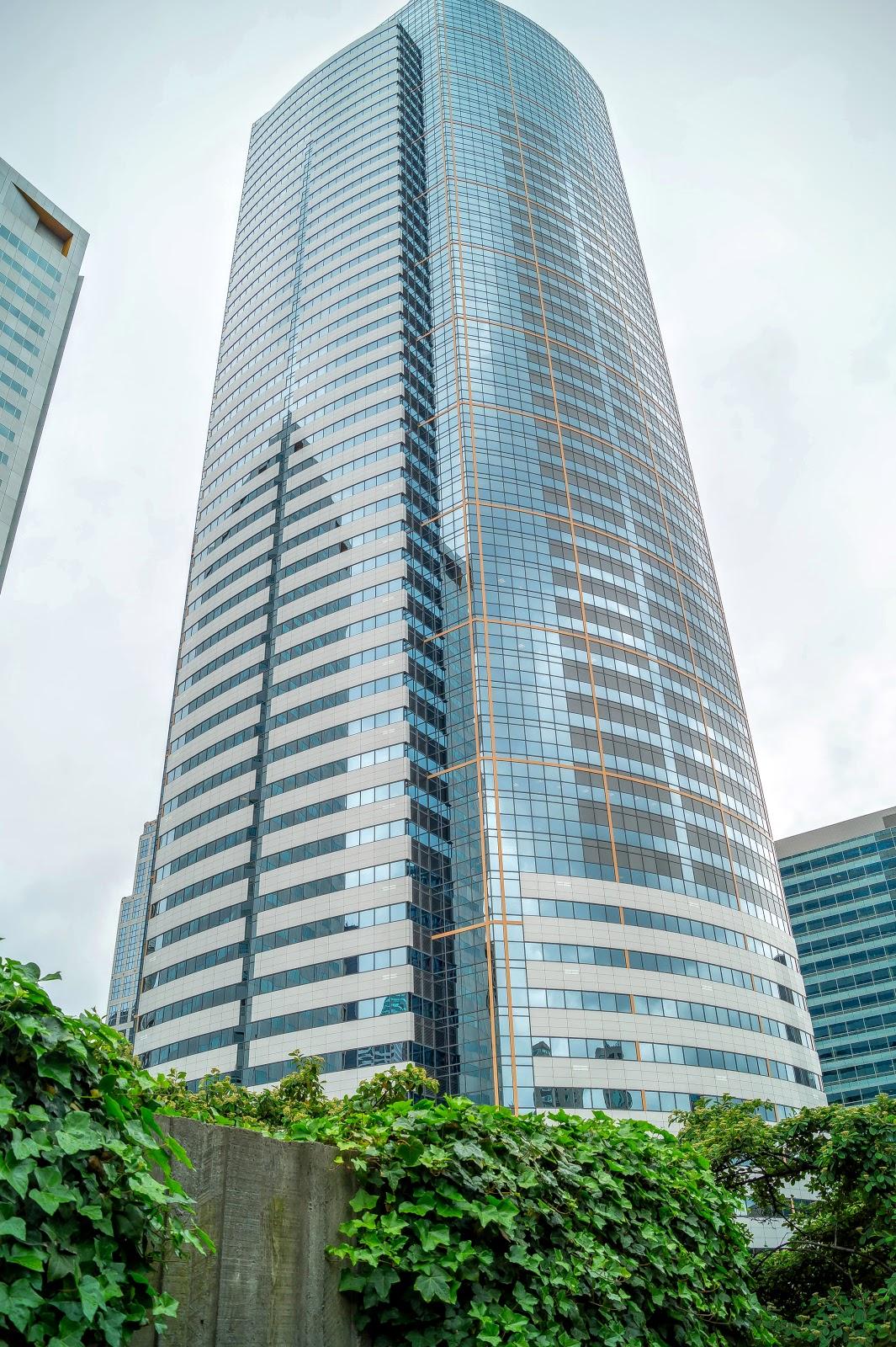 Из парка можно любоваться современными небоскрёбами.
