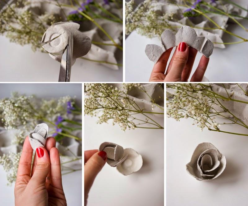 DiariodecoSpring: Diy flores con hueveras de cartón4