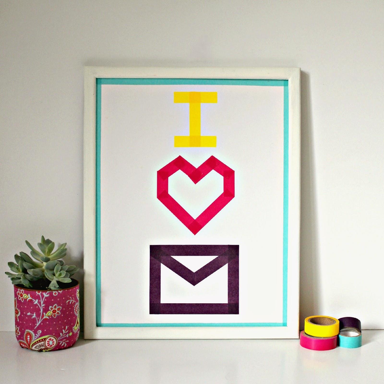 diy easy 10 minute washi tape art for mail lovers. Black Bedroom Furniture Sets. Home Design Ideas