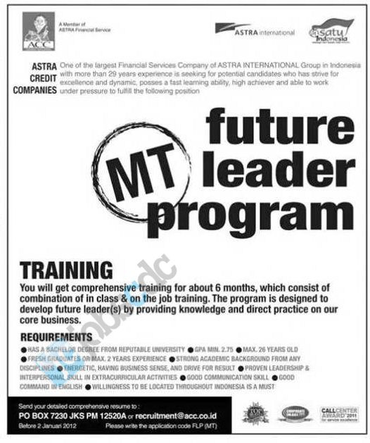 Astra Credit Companies - Recruitment Future Leader Program