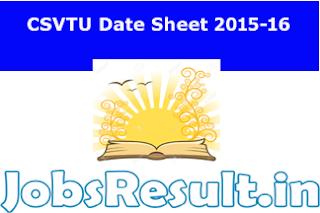 CSVTU Date Sheet 2015-16