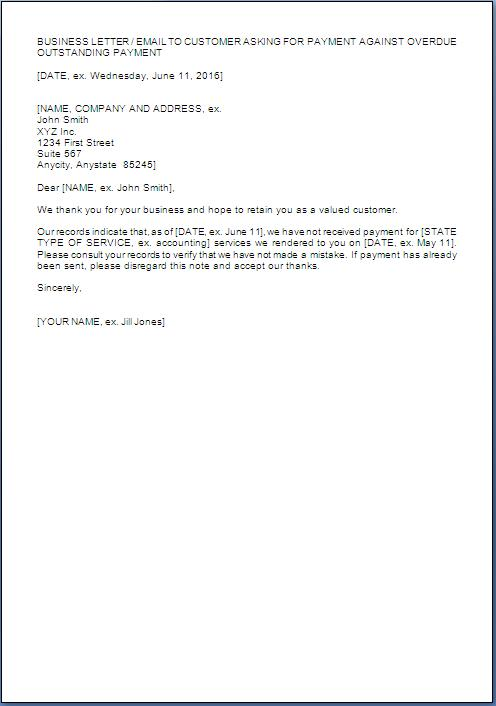 payment reminder letter format