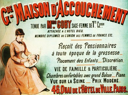advertising, classic posters, free download, graphic design, retro prints, vintage, vintage posters, Maison d' Accouchement, Birthing Home - Vintage French Advertising Poster