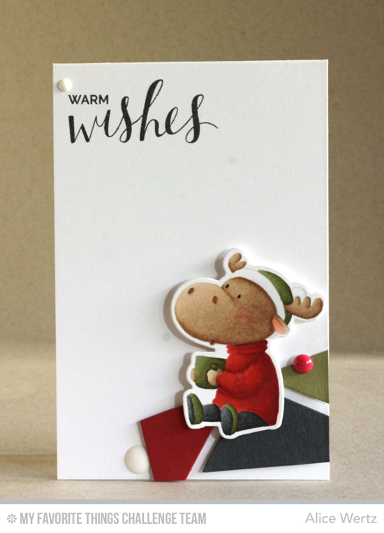 Warm Wishes Card by Alice Wertz featuring the Birdie Brown Merry Christmoose stamp set and Die-namics and the Hand Lettered Holiday stamp set #mftstamps