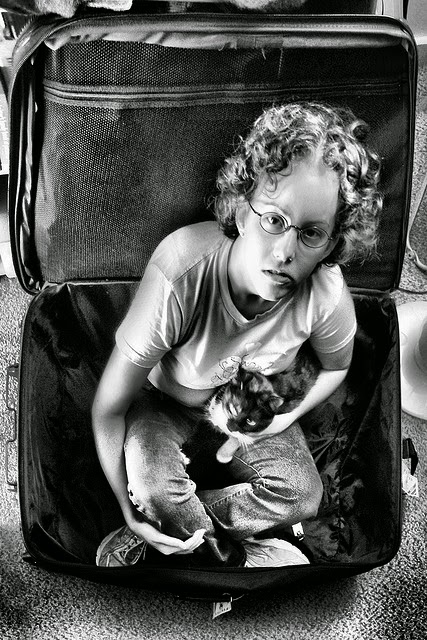 Man sitting in suitcase